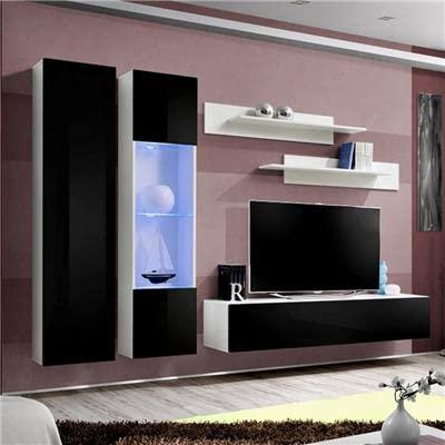 NOUVOMEUBLE Mur TV Design Noir et Blanc Teodoro