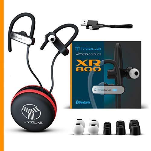 TREBLAB XR800 Bluetooth Headphones, Best Wireless Earbuds For Sports, Running Or Gym Workouts. 2018 Best Model. IPX7 Waterproof, Sweatproof, Secure-Fit. Noise-Cancelling Earphones w/ Mic (White) 2