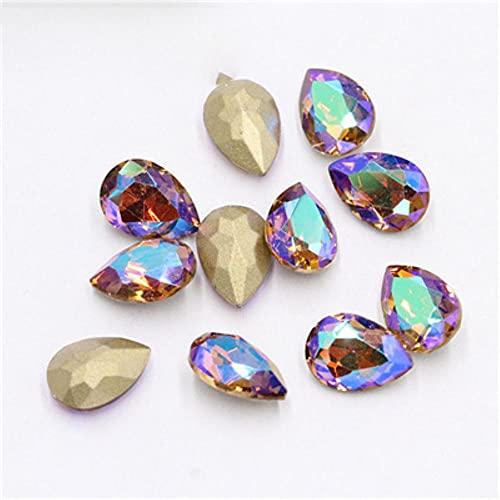 50 piezas/lote 3D Nail Art Rhinestones brillantes Color Nail Rhinestone Gem 3D Crystal para uñas arte piedra oro diamante manicura De-Light Smoked Top SI, 7 x 10 mm, 50 piezas