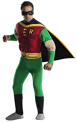 DC Comics Deluxe Muscle Chest Robin Adult Costume, Large