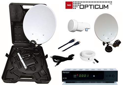 Opticum Camping Balkon HDTV Sat-Anlage mit HD AX300 Satelliten-Receiver (Single-LNB,Kabel (10m),HDMI-Kabel)