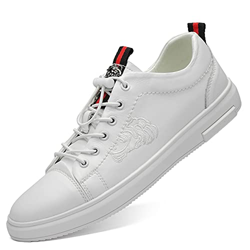 Platte leren schoenen Casual veterschoenen voor heren Zacht echt leer Comfortabel gevoerde Lichtgewicht ademende sneakers Ideaal voor dagelijks werk Rijden Reizen-Witte 39 eu