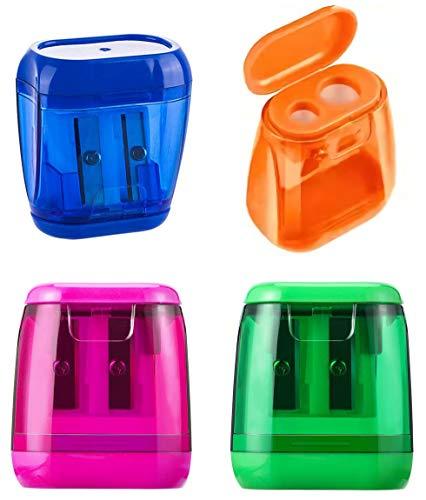 2 Holes Pencil Sharpener,Pencil Sharpener For Kids,Pencil Sharpener Handheld (4 Pack) - With Lid