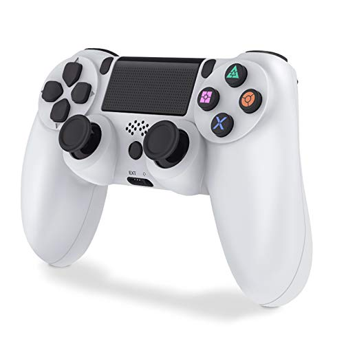 Controller PS4, Wireless Joystick Playstation 4, Controller di Gioco Senza Fili con Joypad del Dualshock per PS4 Slim/PRO And PC (Bianca)