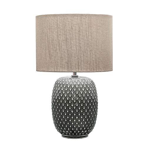 Pauleen 48153 Pretty Classy Tischleuchte Keramik Tischlampe mit Stoffschirm hell Beige max60W E27 Dunkelgrau/Beige 230V Keramik