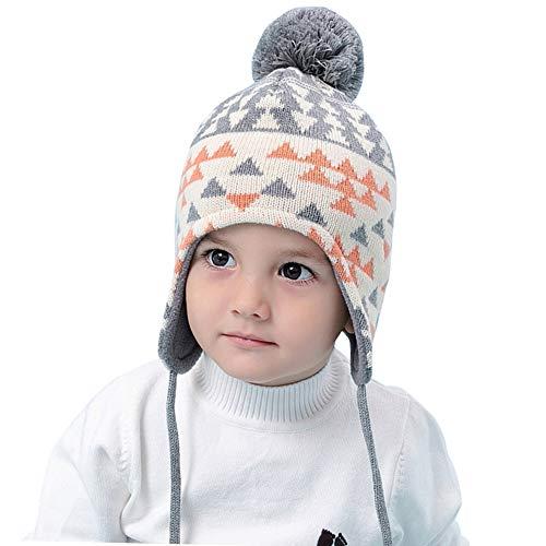 Happy Cherry - Conjunto de gorro para niña, forro polar para invierno con pompón de punto, protección de cabeza suave, sombrero para nacimiento, regalo Gris+Beige 46 cm/0-12 meses