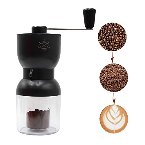 Manual Coffee Grinder with 4 Adjustable Settings, Hand Portable Coffee Bean Mill, Stainless Steel Handle with Two Jars, Easy Assembly for Travel