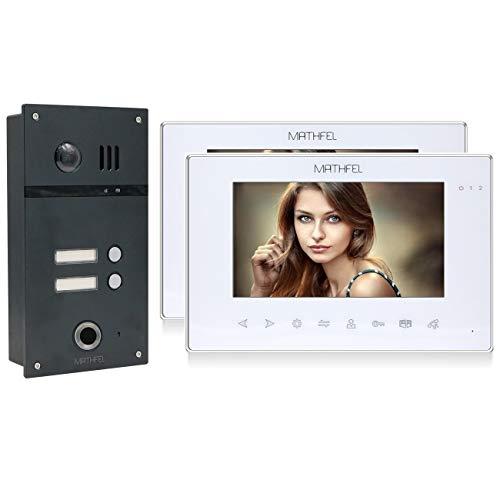 2 Familienhaus 2 Draht Video Fingerprint Türsprechanlage Gegensprechanlage Fischaugenkamera 170 Grad Anthrazit, Farbe: 2x7'' Monitor in weiß