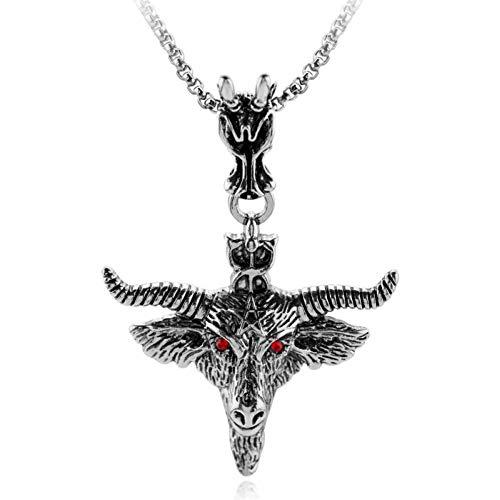 VFDGB Gothic Tauren Bull Ochsenkopf Totem Metall Anhänger Halskette Punk Herren Rote Augen Riesige Ziege Schädel Tier
