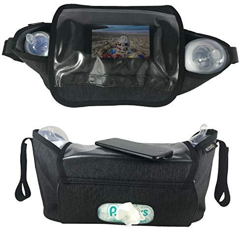 HECKBO® Kinderwagentasche & Buggy Organizer Tasche | inkl. Smartphone-Tasche & Feuchttuch-Tasche | wasserabweisendes, stabiles Material | Baby Aufbewahrungstasche, Stroller, Kinderwagen Zubehör