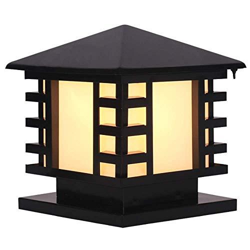 China Ip65 Lámpara Columna para Exteriores con Acabado Negro Impermeable A Prueba Herrumbre Estilo Japonés Acero Inoxidable para Jardín, Pared, Patio, Pilar, Lámpara, Accesorio, Cuadrado, Vidrio Esme
