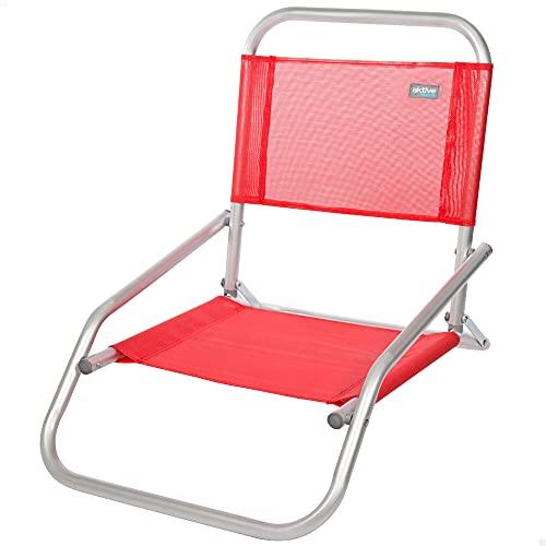Aktive 53969 - Silla baja, Silla plegable playa, Silla de playa, color rojo, mide 47x66x53 cm, altura del asiento 10 cm, Silla fija, silla de aluminio, Aktive Beach