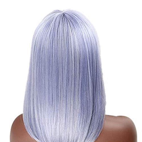 ZJ666 Bandeau avec frange oblique et cheveux longs Blanc/bleu