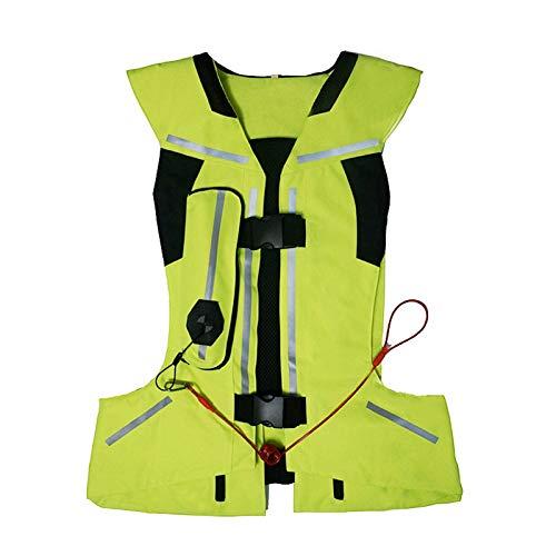 ZZJCY Chaleco Reflectante De Seguridad con Bolsa De Aire, Chaleco De Construcción con Franja Plateada, Chaleco De Alta Visibilidad para Andar En Motocicleta Y Trabajar Al Aire Libre,Verde,XL