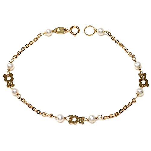 Pulsera Oro 18K Primera Comunión 16cm. Perlas Cultivadas Detalles Ositos Niña Cierre Reasa
