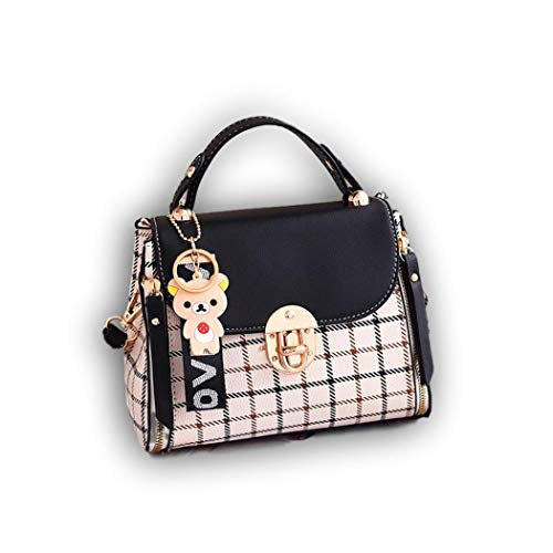Ro Rox Damen Teddy Liebe Tasche überprüfen umhängetasche Retro-Altmodisch Kunst mini schulranzen handtasche klein schwarz