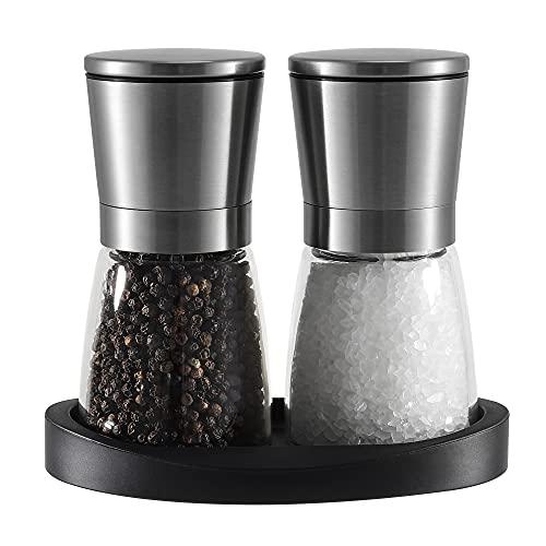 Vevouk - Macina sale e pepe in ceramica, regolabile, in acciaio inox, macinapepe e sale, con supporto in gomma per macinare, ideale come regalo