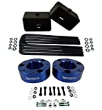 American Automotive Full Lift Kit Compatible 2007-2018 Silverado & Sierra 1500 3' Front Lift Strut Spacers + 3' Rear Lift Blocks + Square Bend U-Bolts w/Differential Drop Kit 4WD (Blue)