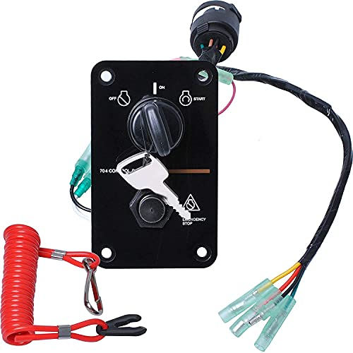 ATFWEL Main Switch Panel Single Engine Key Switch Panel Assembly On-Off-Start 704 Control Box for Yamaha Outboard Yacht 704-82570-12-00 704-82570-08-00