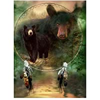 油絵 数字キットによる絵画 塗り絵 手塗り クマの動物 DIY絵 デジタル油絵-40x50cm (diyの木製フレーム)