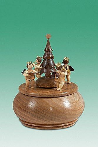 Spieldose Engelgruppe mit Tannenbaum natur d = 15 cm NEU Spieluhr Musikdose Erzgebirge Holz