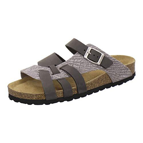 AFS-Schuhe 2122 Damen Pantoletten aus echtem Leder, hochwertige Hausschuhe für Frauen mit Eva-Sohle, Made in Germany (38 EU, Grau/Stone)