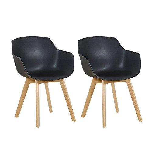 DORAFAIR Set di 2 Pranzo/Ufficio Sedia con Gambe in Faggio Massiccio, Poltrona Moderno Design Sedie Cucina Scandinavo - Nero