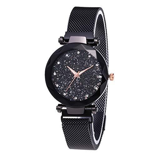 Junecat Estrella de Cuarzo del dial Reloj clásico Casual Mujeres de Cuarzo analógico Reloj de Pulsera de Metal con Correa de Acero Inoxidable