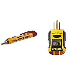 Klein Tools NCVT-2 Voltage Tester & Sperry Instruments GFI6302 GFCI Outlet/Receptacle Tester, Standard 120V AC Outlets, 7 Visual Indication/Wiring Legend, Home & Professional Use, Yellow & Black