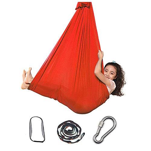Silla Swing Sensor, Hamaca Elástica Interior para Niños o Adultos Terapia Autismo de Cuerda de Árbol de Yoga, Azul Camping Al Aire Libre || 59inx110in (Color : 59inx110in, Size : Orange)