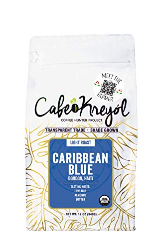 Cafe Kreyol Organic Caribbean Blue | 12 oz - Haitian Blue Light Roast Whole Bean Coffee