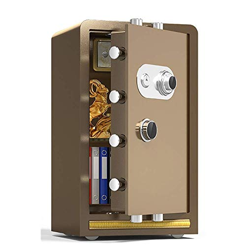 Lsmaa Large Safe Mechanical Password Home Business Office 60/70/80cm Hoge Safe nachtkastje Volstalen kast (kleur: Goud, Maat : 70x37x43cm)