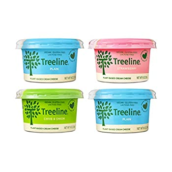Treeline Cheese - Tangy Cashew Cream Cheese - Vegan Cheese Made with Plant-Based Ingredients  Variety - Strawberry Chive & Onion Plain 8 oz 4-Pack