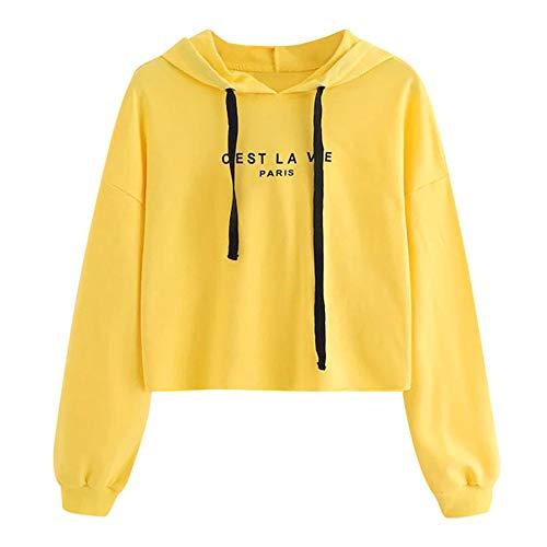 LUCKYCAT Sudadera con Capucha de Manga Larga para Mujer de Moda Casual Jersey Blusa sólida (Amarillo, Medio)