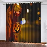 STWSXQ cortinas opacas para ventanas salon dormitorio juveniles 3D Linterna de calabaza de Halloween...
