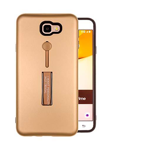 COOVY® Cover für Samsung Galaxy J7 Prime SM-G610Y /Duos SM-G610F / DS / On7 Bumper Hülle, Doppelschicht aus Plastik + TPU-Silikon mit Halteschlaufe, Standfunktion | Farbe Gold