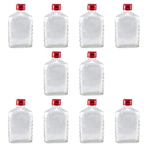 Cabilock 10 Stück Glasflasche Schnapsflasche 100Ml Leere Whiskyflaschen Getränkeweinspender für Restaurant Bar Home Ktv
