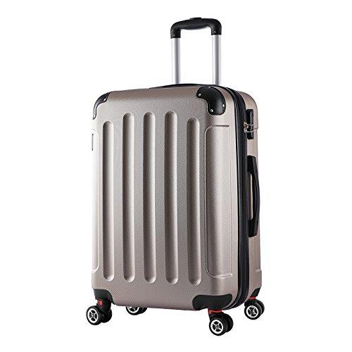 WOLTU RK4202ch, Reise Koffer Trolley Hartschale Volumen erweiterbar, Reisekoffer Hartschalenkoffer 4 Rollen, M/L/XL/Set, leicht und günstig, Champagne (L, 67...