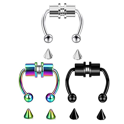LAIMALA 16G Nose Rings Horseshoe Fake Nose Ring Hoop Magnetic Septum Nose Ring Horseshoe Stainless Steel Faux Fake Nose Septum Rings Non-Pierced Clip On Nose Hoop Rings Jewelry for Women Men Colorful