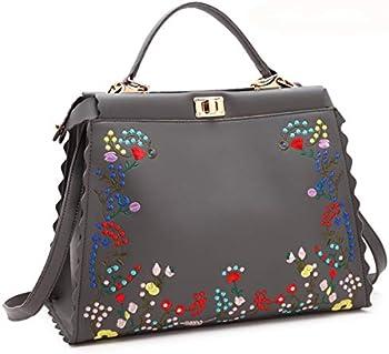 MKY Women Floral Print Flower Satchel Handbag Leather Purse Shoulder Bag Turn Lock Grey