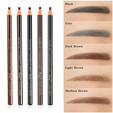 eye brow pencils 12pcs 5 Colors Peel-Off Eye Brow Pencil Set For Marking Filling Outlining Drawing, Tattoo Makeup Microblading Supplies Kit - Permanent Eye Brow Liners Positioning Eyeliner Pen Eyebrow Cosmetics Tool