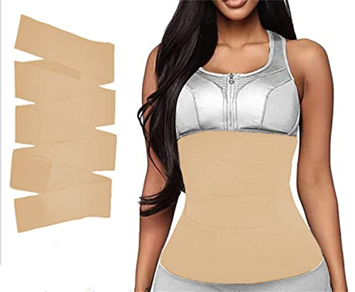 KmImop Slim Waist - Ultimate Waist Trainer, Shapegal Waist Wrap, Invisible Wrap Entrenador De Cintura Snatch Me Vendaje Mujeres Adelgazantes, Mujeres Adelgazantes Tummy Wrap Belt (3m,Skin)