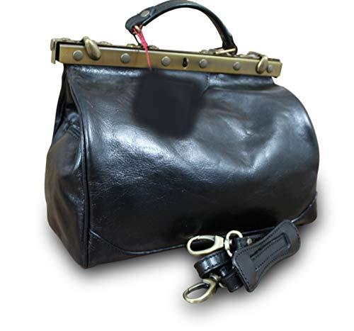 Made in Italy Arzttasche Doktortasche Hebammentasche Doc Bag Echt Nappaleder, Farbe:Schwarz