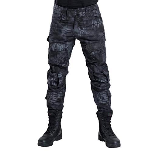 Herren Frösche Schlank Passen Tarnung Shirt Airsoft Classic T Hose Sets Langarm Camo Armee Top Bw Feldhose Outdoor Camping Uniform (Color : Hose Schwarz Pythonmuster, Size : 38)