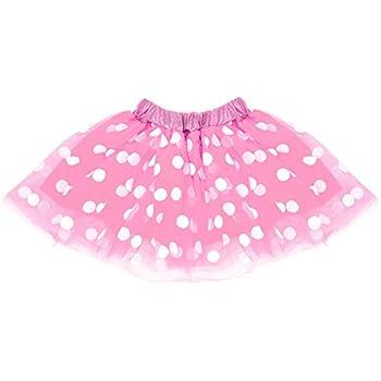SeasonsTrading Pink & White Polka Dot Tulle Tutu Lined Skirt Girls  2-7 Years