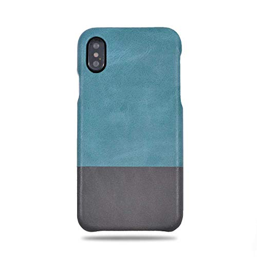Kulor Cases iPhone X Leather Case (Ocean Blue & Pebble Gray), Handmade Premium Top-Grain Leather Slim Fit Protective Cover Snap on Case for iPhone X, Real Leather Luxury Case for iPhone X -  Kulör Cases