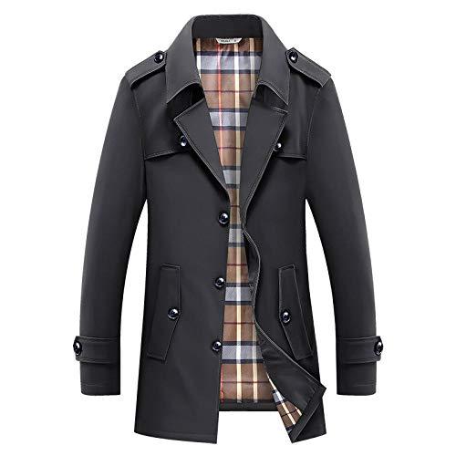 YJWSPD Herren warm gefütterter mit Winter Mantel Jacke Mittellange Windjacke-Jacke-schwarz_L