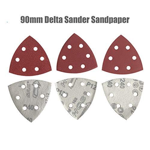 GPOKD Schleifblätter - 25PC 90mm Delta Sander Sand Papierhaken & amp;Schleifenschleifwerkzeuge für Schleifpapier zum Schleifen von Körnung 40-2000,40