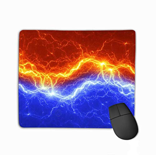 Anti-slip Dikke Rubber Grote Mousepad vuur ijs Abstract Lighnting Achtergrond Geometrische