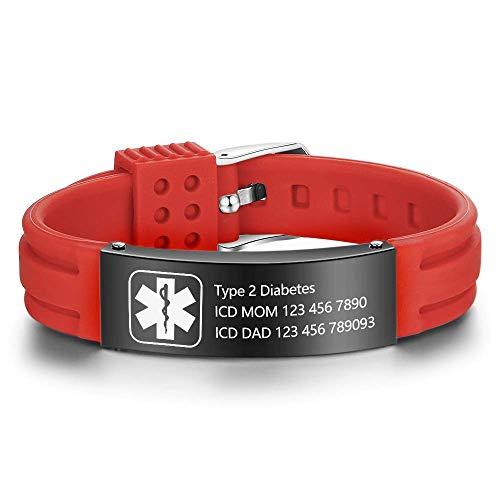 Grand Made Incisione Bracciale incisione medica regolabile in silicone da Bracciale emergenza per donna uomo Impermeabile bracciale in acciaio inossidabile (Rosso & nero, Acciaio inossidabile)